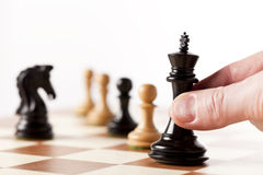 Black and white chess pieces Stock Photo