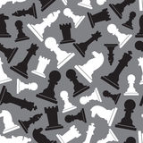 Black and white chess pieces seamless gray pattern Royalty Free Stock Photos