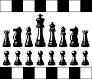 Black and white chess pieces, vector  Royalty Free Stock Photos