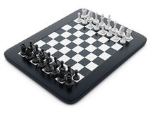 Black and white chess pieces standing on tablet computer. 3D illustration.  Stock Photos