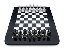 Black and white chess pieces standing on tablet computer. 3D illustration.  Stock Photo