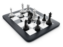 Black and white chess pieces standing on tablet computer. 3D illustration.  Royalty Free Stock Photos