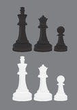 Black and White Chess Pieces Vector Illustration Royalty Free Stock Photo