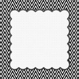 Black and White Chevron Frame with Embroidery Background Royalty Free Stock Photo
