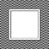 Black and White Chevron Frame with Frame Background Stock Images