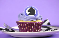 Black and white chevron with purple theme party cupcake. Royalty Free Stock Photography