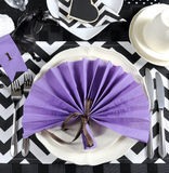 Black and white chevron with purple theme party place setting Royalty Free Stock Photos