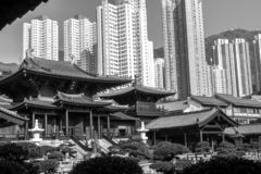 Black and White Chi Lin Nunnery in Diamond Hill District of Hong Kong, China.  royalty free stock photography
