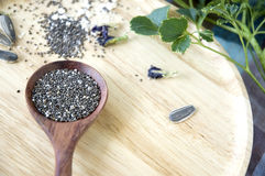 Black and white chia seeds in spoon Royalty Free Stock Image