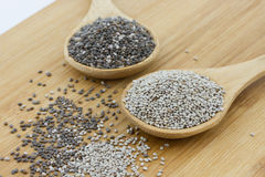 Black and white chia seeds Royalty Free Stock Photography
