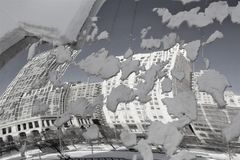 Black & White Chicago Buildings Reflected in Snowy Bean Cloud Gate Stock Photography