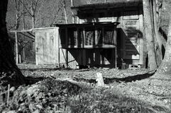 Black and white chicken coop. A black and white image of an old wooden chicken coop in the Appalachian Mountains Stock Photography