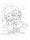 Black and white - Children and the rain royalty free stock images