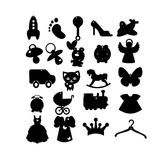 Black and white children's icons. Black and white icons for children, clothes, toys, items Royalty Free Stock Photos