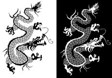 Black and white chinese dragon . Stock Images