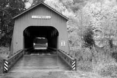 Black and White Chitwood Covered Bridge Lincoln County Oregon Stock Images