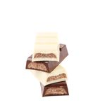 Black and white chocolate bars with filling. Royalty Free Stock Photography