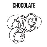 Black and white chocolate shaving, curl, spiral for cake decoration Stock Photo