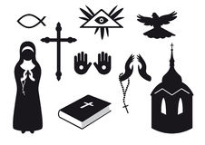 Black and white Religion icons. Set of Christian symbols. Traditional symbols of believers. Set of icons for believers. Set of icons. Set of religious objects Royalty Free Stock Image