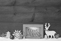 Black And White Christmas Background Snow Frame Merry Xmas Stock Image