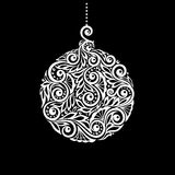 Black and White Christmas ball with a floral swirl flourishes. Black and White Hanging Christmas ball with a floral swirl flourishes. design for greeting card Stock Photography