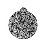 Black and white christmas ball, hand-drawn. Royalty Free Stock Images