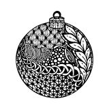 Black and white christmas ball, hand-drawn. Royalty Free Stock Photography