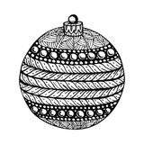 Black and white christmas ball, hand-drawn. Stock Images