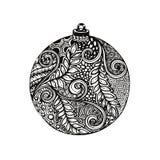 Black and white christmas ball, hand-drawn. Royalty Free Stock Image