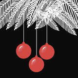 Black and White Christmas balls illustration with. Original Black and White Christmas balls illustration with spruce branches Royalty Free Stock Image