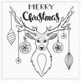 Black and white Christmas card. Black and white Christmas greeting card with deer and lettering Stock Photo