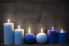 Black And White Christmas Decoration With Blue Candles Stock Images