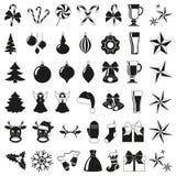Black and white 42 christmas elements stock illustration