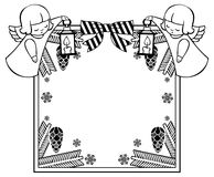 Black and white Christmas frame with cute angel. Stock Photos