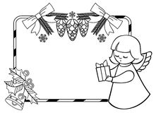 Black and white Christmas frame with cute angel. Stock Photo