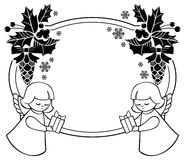 Black and white Christmas frame with cute angel. Stock Image