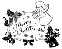 Black and white Christmas frame with cute angel. Royalty Free Stock Photos