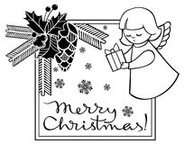 Black and white Christmas frame with cute angel. Stock Photography