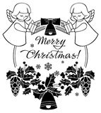 Black and white Christmas frame with cute angel. Royalty Free Stock Images