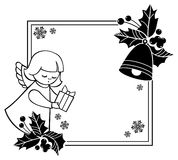 Black and white Christmas frame with cute angels. Copy space. Stock Photos