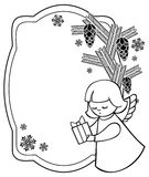 Black and white Christmas frame with cute angels. Copy space. Royalty Free Stock Image