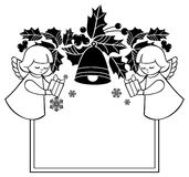 Black and white Christmas frame with cute angels. Copy space. Royalty Free Stock Images