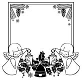 Black and white Christmas frame with cute angels. Copy space. Stock Image