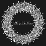 Black and White Christmas frame illustration. Royalty Free Stock Photo