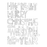 Black and white Christmas greetings for coloring. Decorative lettering. Black and white Christmas greetings for coloring book. Decorative lettering for holiday Royalty Free Stock Photo