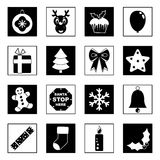 Black and white  christmas icons Royalty Free Stock Image