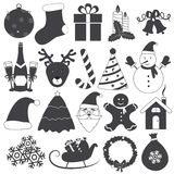 Black and White Christmas Icons Vector Set Stock Photos