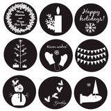 Black-white Christmas labels. EPS 10 stock illustration