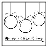 Black and White Christmas ornaments. Greeting card in black and white design with three balls and an inscription Stock Photography