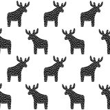 Black and white Christmas pattern with reindeer. Simple seamless Happy New Year background. Winter holidays vector design for textile, wallpaper, web, wrapping Royalty Free Stock Photo